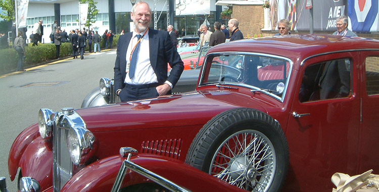 VA Saloon - Peter Ratcliffe at the NAC MG TF launch, Longbridge